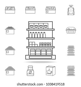 shelves in the grocery store icon. Detailed set of shops and hypermarket icons. Premium quality graphic design. One of the collection icons for websites, web design, mobile app on white background