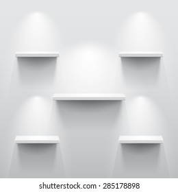 Shelves with light and shadow in empty white room.