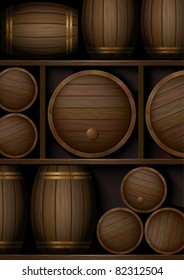 Shelves with old wooden barrels