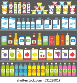 Shelves with Products and Drinks.