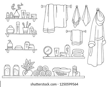 Shelves set graphic black white isolated sketch bathroom illustration vector