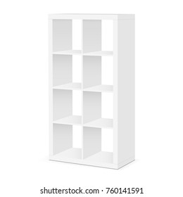Shelves and shelving mockup isolated on white background. Floor showcase rack - half side view. Vector illustration