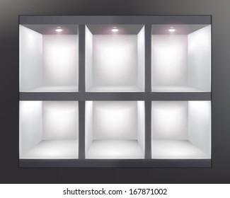 Shelves in shop. Vector illustration.