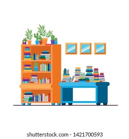 shelving with books in white background