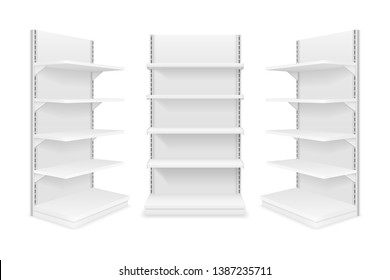 shelving rack for store trading empty template for design stock vector illustration isolated on white background