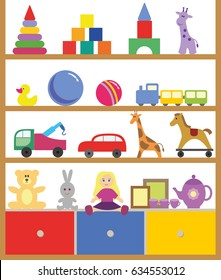 Shelving with toys flat design vector illustration.