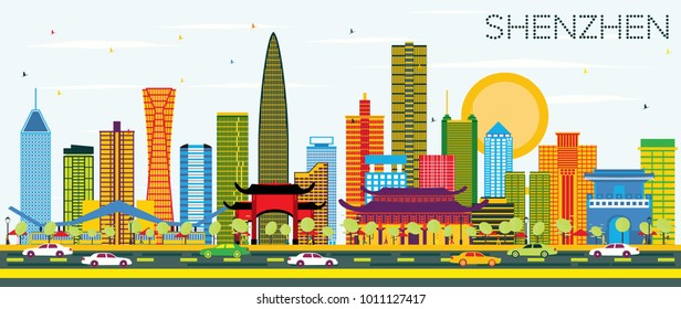 Shenzhen China City Skyline with Color Buildings and Blue Sky. Vector Illustration. Business Travel and Tourism Concept with Modern Architecture. Shenzhen Cityscape with Landmarks.
