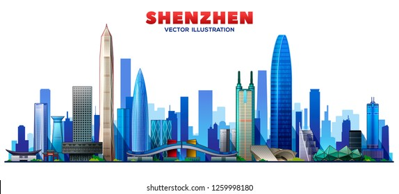 Shenzhen ( china ) line skyline with panorama in white background. Vector Illustration. Business travel and tourism concept with modern buildings. Image for presentation, banner, web site.