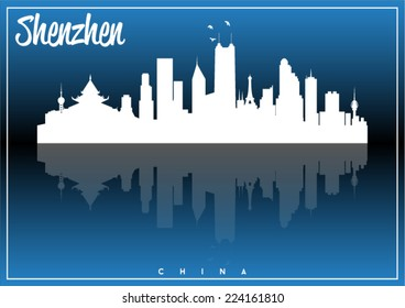 Shenzhen, China, skyline silhouette vector design on parliament blue and black background.