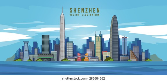 Shenzhen skyline in the background color. vector illustration .china