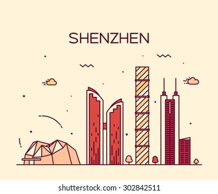 Shenzhen skyline detailed silhouette. Trendy vector illustration, line art style.