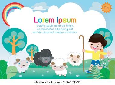 the shepherd boy, story for kids vector illustration