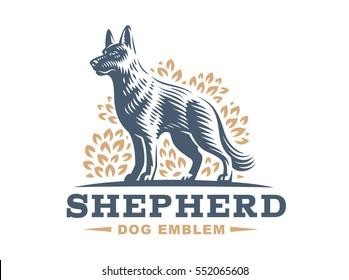 Shepherd dog logo - vector illustration, emblem design on white background