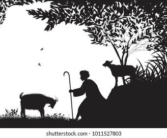 shepherd and the goat, young shepherd, silhouette,