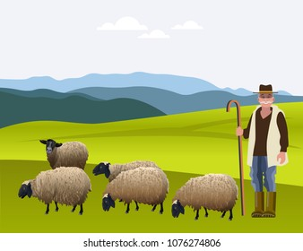 Shepherd herding his flock of sheep. Vector illustration