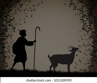 shepherd herds the goat, young shepherd, silhouette,