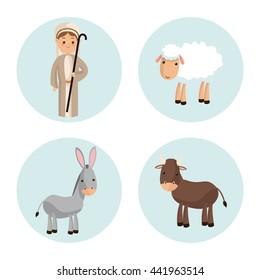 Shepherd icon. Merry Christmas design. Vector graphic