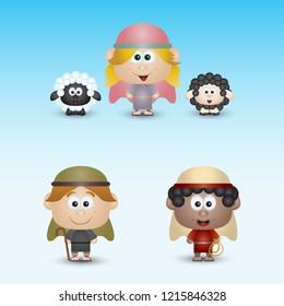 Shepherd and sheeps Nativity Scene Characters Set Cute Cartoon Isolated Vector Illustration