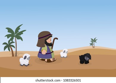Shepherd with sheeps on a background of desert and palm trees. Cartoon character.