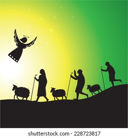 Shepherds and angel silhouette. Nativity scene of angel and shepherds with their flocks.