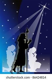 shepherds' illustration with starry blue bottom