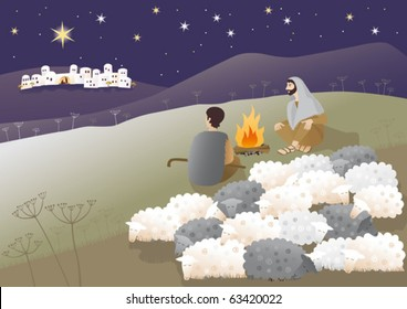 Shepherds are looking what has happened in Bethlehem. Vector illustration.