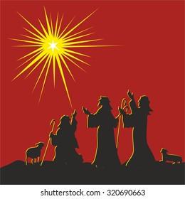 Shepherds and the star of Bethlehem