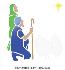 Shepherds Watching the Christmas Star in vector format.