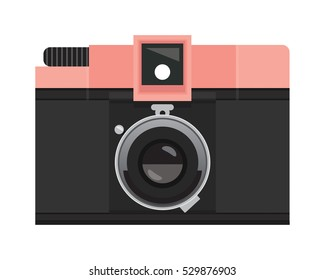 Sherbet Pink and Black Analog Film Camera