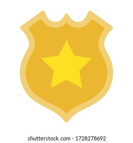 Sheriff badge, golden shield with star vector icon flat isolated.