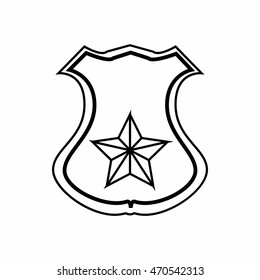 Sheriff badge icon in outline style isolated on white background. Police symbol