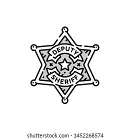 Sheriff badge line icon. Wild west Deputy ranger star symbol. Vector illustration.
