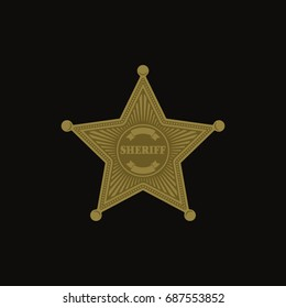 Sheriff Badge Star / Flat Vector Symbol