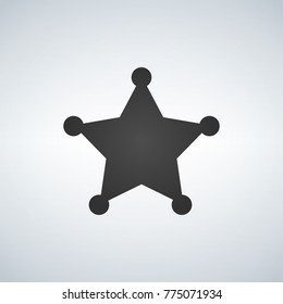 Sheriff blank star black symbol. Simple silhouette. Template. Vector illustration isolated on white background.