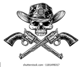 Sheriff cowboy skull in a western hat and a pair of crossed hand gun pistols drawn in a vintage retro woodcut etched or engraved style