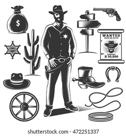 Sheriff icon set with black isolated elements of cowboys and sheriffs equipments vector illustration