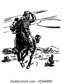 Sheriff On Horse - Retro Clipart Illustration