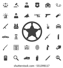 Sheriff star icon . Police set of icons