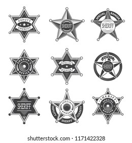 Sheriff stars badges. Western star texas and rangers shields or logos vintage vector pictures. Illustration of texas star, ranger sheriff badge