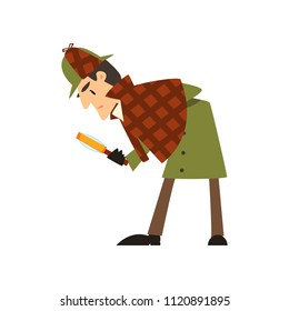 Sherlock Holmes detective character with magnifying glass vector Illustration on a white background