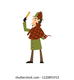 Sherlock Holmes detective character with magnifying glass and smoking pipe vector Illustration on a white background