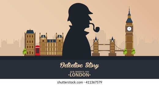 Sherlock Holmes. Detective illustration. Baker street 221B. London. Big Ban