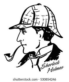 Sherlock Holmes. Detective illustration. Illustration with Sherlock Holmes. English detective ink drawing.