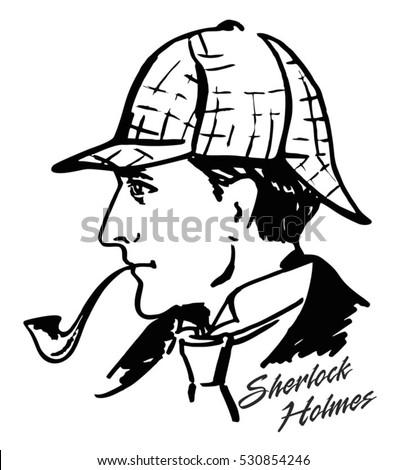 sherlock holmes detective illustration illustration with sherlock holmes english detective ink drawing