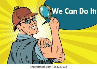 Sherlock Holmes detective sleuth. we can do it. Pop art retro vector illustration