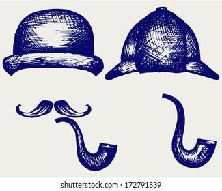 Sherlock Holmes. Icon Detective. Doodle style
