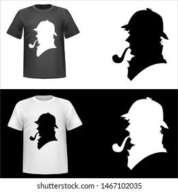 Sherlock Holmes, illustration of Sherlock Holmes, sticker, Sherlock, Holmes, tshirt print, vector illustration
