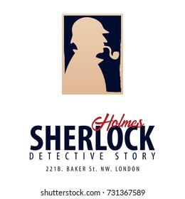 Sherlock Holmes logo or emblem. Detective illustration. Illustration with Sherlock Holmes. Baker street 221B. London. Big Ban