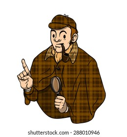 Sherlock Holmes with a pipe and magnifying glass points his finger up