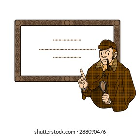 Sherlock Holmes with a pipe and magnifying glass points his finger up in wooden vintage frame